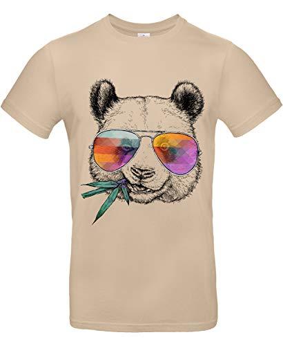 Smilo & Bron Herren T-Shirt mit Motiv Cool Panda Bedruckt Braun Sand M