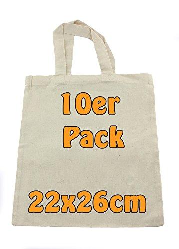 Cottonbagjoe | kleine Apothekertasche | perfekt zum Bemalen | Jutebeutel | Geschenktasche | unbedruckt | Bauwolltasche | DYI | 22x26cm | Öko-Tex 100 Standard Zertifiziert (Natur, 10 Stück)