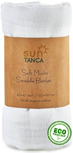SunTanca White Muslin Baby Swaddle Blanket – 100% Organic Cotton