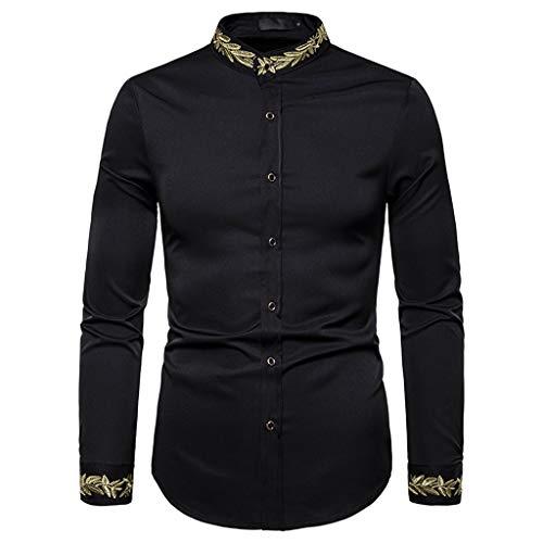 HEETEY Hemd Top Herren Style Fashion Bestickte Langarm gedruckte Hemdbluse Gesticktes Langarmhemd mit Aufdruck Sweatjacke Hoodie Kapuzenjacke Sweatshirt Kapuzenpullover