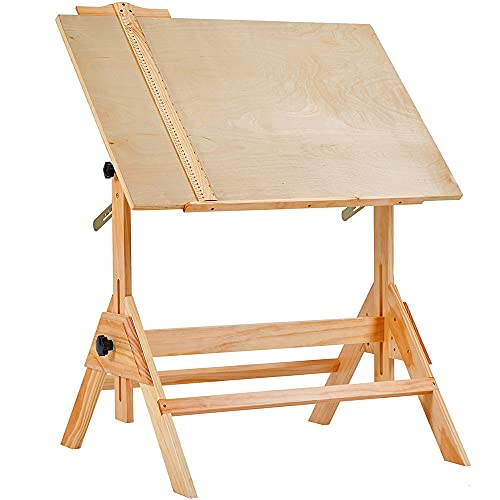 MEEDEN Solid Wood Drafting Table, Artist Drawing Desk, Writing Desk Studio Desk, Art Craft Table with Adjustable Height and Tiltable Tabletop for Artwork, Graphic Design, Reading