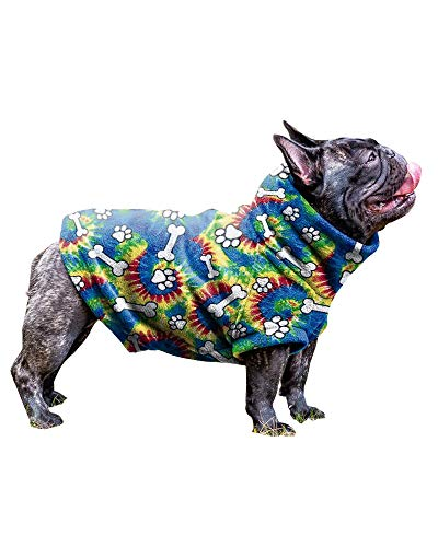BZB French Bulldog Clothes Lovely Bone Printed Puppy Pjs Onesie Small Dogs Pullover Cat Jackets (X-Lagre,Blue)