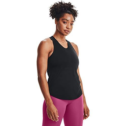 Under Armour Camiseta de Tirantes UA Streaker para Mujer, Mujer, Camiseta, 1361372-001, Negro/Negro/Reflective, Small