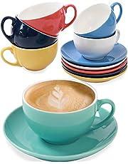 Uppsättning av 6 cappuccinokoppar med fat – flerfärgad keramik – diskmaskinssäker – 180 ml – för kaffe och te