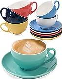 Set de 6 Tazas de Capuchino con Platos - 180ml - Ceramica de Colores - Con Caja de Regalo - Mantienen el Café Caliente