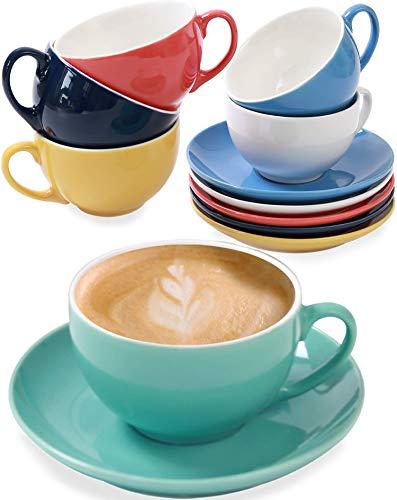 6er Cappuccino Tassen Set mit Untertassen - Keramik Bunt - Geschenkbox - Hält Lange warm - 180ml