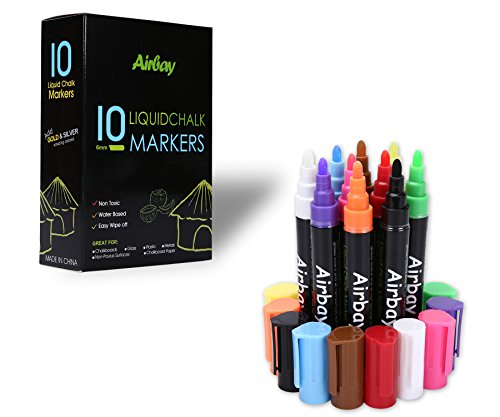 Airbay Chalk Markers - 2018 New Washable Chalkboard Window Pens Amazing Neon Color Pens Reversible Bullet And Chisel Tip ,Brand New Revolutionary Cap