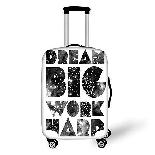 Travel Luggage Cover Suitcase Protector,Indie,Dream Big Work Hard Typography Design with Galaxy Outer Space Modern Quote,Black Grey White,for Travel,M