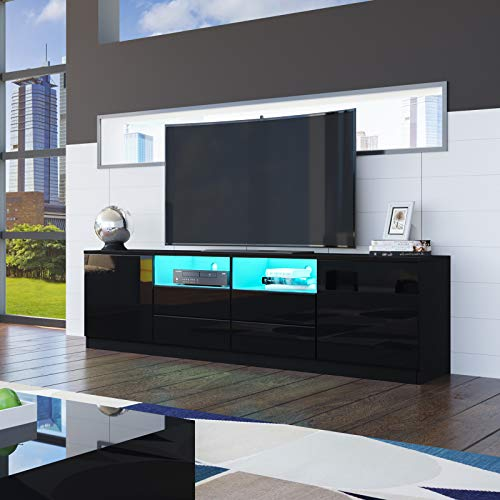 Senvoziii LED TV Stand Unit, 180cm Black High Gloss Front Sideboard TV Cabinet with 2 Doors 4 Drawers for Bedroom Living Room
