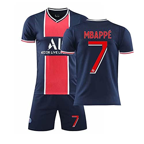 GJMQQ Herrentrikot, Paris 2021 Zweites Auswärtstrikot, Mbappé 7#/Neymar 10# Fußballshirts, Kinderfußballtrikot Sportanzug, T-Shirt + Shorts