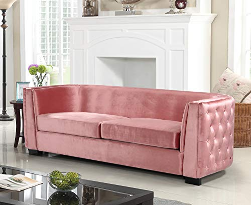 Iconic Home Saratov Sofa Velvet Upholstered Button Tufted Curved Shelter Arm Design Espresso Finished Wood Legs Modern Transitional Blush