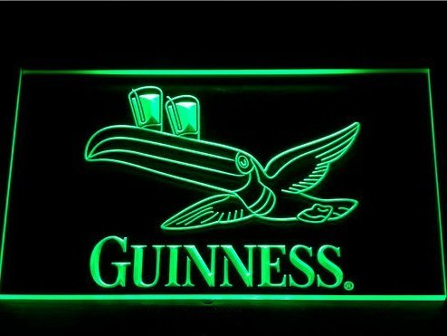 Guinness Tucán LED Caracteres Publicidad Neon Cartel Rojo