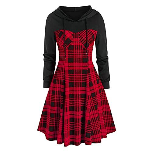 Vestido con capucha gótico, disfraz de Halloween para mujer, estilo medieval, retro, falda, disfraz de cosplay, para carnaval, festival, fiesta de disfraces, rojo, M