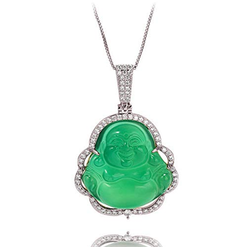 Buddha Pendant Green Jade Buddha Necklace Silver Iced Out Bling Cubic Zirconia laughing Buddha Pendant Necklace