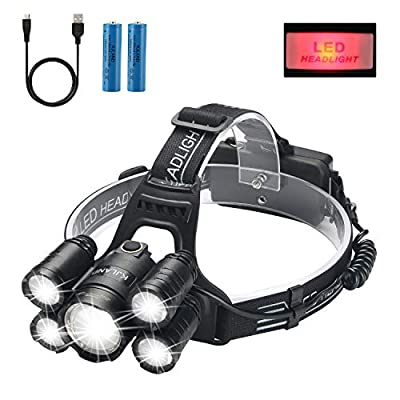 Headlamp, KJLAND 12000 Lumen Ultra Bright 5 LED Head light, USB Rechargeable Waterproof Headlight Flashlight with Zoomable, 4 Modes Head Lamp for Outdoor Camping Hiking Fishing Hunting