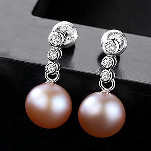 DJMJHG Pendientes de botón de Perlas de Agua Dulce para Mujer Plata de Ley 925 Pave AAA + Pendiente de circonita cúbica Joyería de Plata1