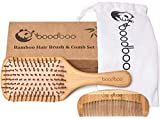 Natural Wooden Paddle Hair Brush – Bamboo Bristles Pins Hairbrush And Comb Travel Set For Women, Men And Kids - For Thin, Thick, Long, Short, Curly Hairs - Scalp Massage, Eco-Friendly, Biodegradable