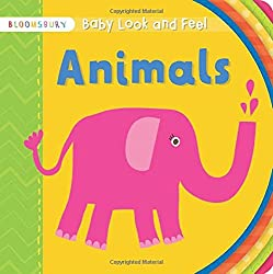 Bright yellow page, text Baby look and feel Animals. Picture of a pink elephant spurting pink water.