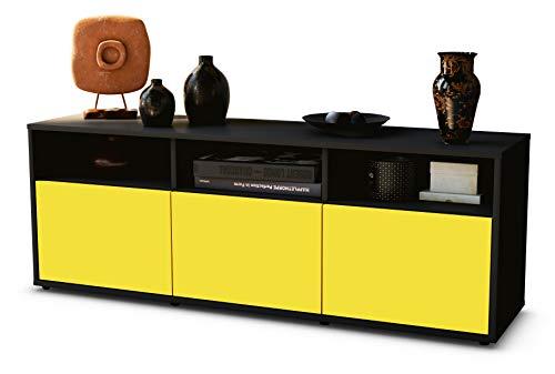 TV Schrank Lowboard Andrina, Korpus in anthrazit matt / Front im exklusiven Sonnengelb (135x49x35cm), mit Push to Open Technik, Made in Germany