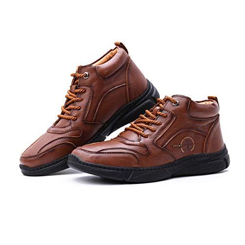 Camfosy Botas cálidas de Invierno para Hombre Tobillo Senderismo al Aire Libre Bota Chukka Zapatos Forrados de Piel sintética