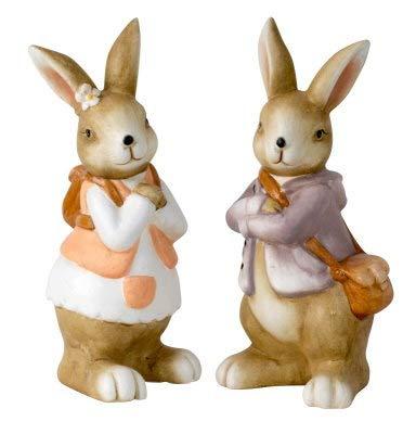 bb10 Schmuck Deko Osterhase und Osterhasenfrau Osterfigur 20 cm hoch Osterdeko Dekofigur Osterhasenpaar Hasenpaar zu Ostern