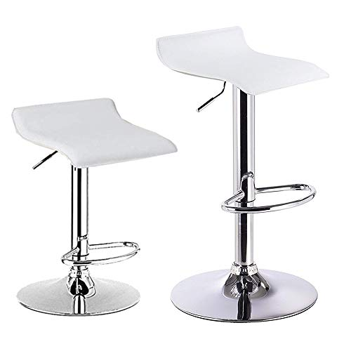 WTAA Bar Stool, Swivel Adjustable Contemporary Stools,Set of 2 Swivel Barstools, PU Leather with Chrome Base, Pub Counter Chairs,White