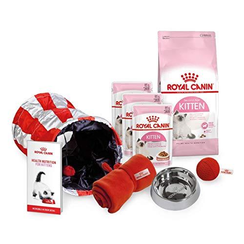 Royal Canin Starter-Set für Kätzchen, Geflügel, Hühnchen, Rindfleisch, Trockenfutter und Nassfutter mit Schüssel und Decke und Katzenminze-Ball mit Spieltunnel und Kätzchen-Guide und Kratzmatte