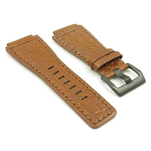Dassari - Cinturino in pelle di coccodrillo marrone compatibile con Bell &...