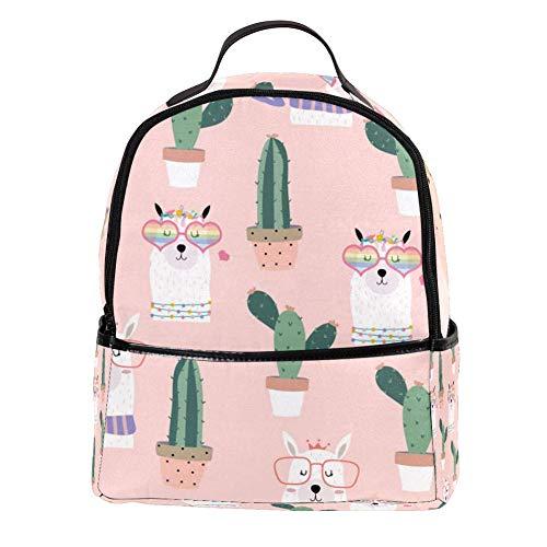 TIZORAX Llama Hart Zonnebril en Cactus Laptop Rugzak Casual Schouder Daypack voor Student School Bag Handtas - Lichtgewicht