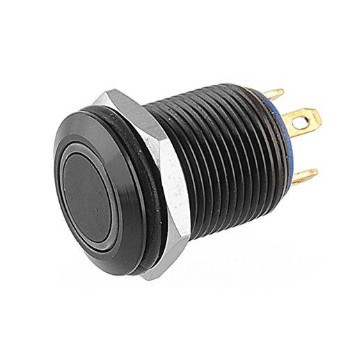 Supmico Étui noir 12mm Lumière vert de LED 2A Momentané Bouton Interrupteur Acier inoxydable Imperméable Voiture Bateau