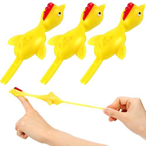 3 Pollos de Tirachinas Pollo Volador Elástico Juguete de Sacar con Dedo Juguete de Pollo de Goma de Catapulta de Novedad Pollo Estirable de Dedo Divertido para Juguete Amarillo de Broma de Fiesta