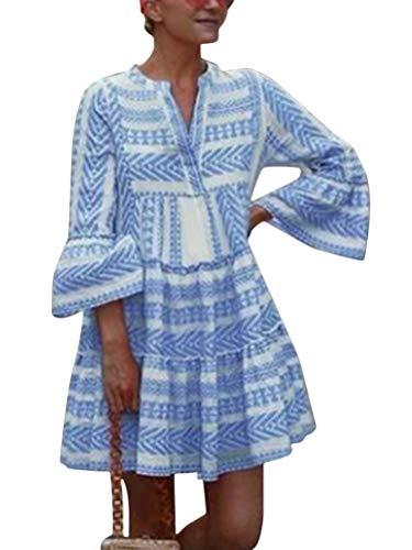Tomwell Sommerkleid Leinen Kleider Damen V-Ausschnitt Strandkleider Einfarbig A-Linie Kleid Boho Knielang Kleid Ohne Zubehör A Hellblau S
