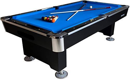 Buckshot Billardtisch 8ft Lemans 2 Leg (Blau/Schwarz) Pool mit Schieferplatte inklusive Zubehör - (240x130 cm)