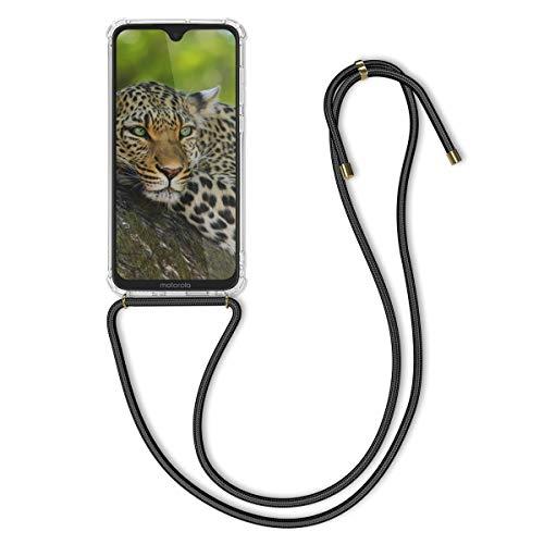kwmobile Hülle kompatibel mit Motorola Moto G7 / Moto G7 Plus - mit Kordel zum Umhängen - Silikon Handy Schutzhülle Transparent Schwarz