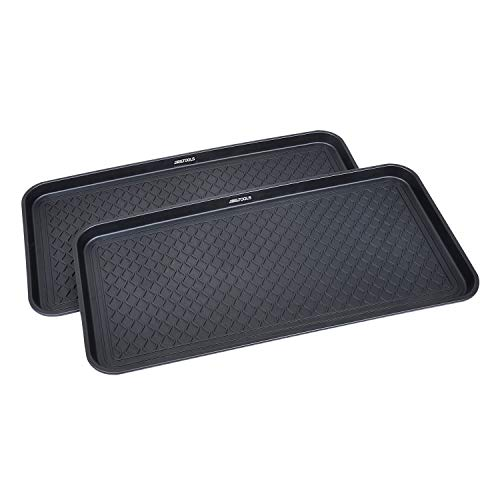 Great Working Tools Boot Trays - Set of 2 Black All Weather Heavy Duty Shoe Trays, Pet Bowl Mats Trap Mud, Water and Food Mess to Protect Floors - Black, 30