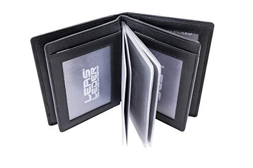 LEAS Ausweis- & Kreditkartenmappe/-hülle hochwertig verarbeitet mit RFID Schutzfolie Echt-Leder, schwarz Card-Collection