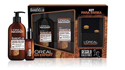 L'Oreal Paris Men Expert Pack Cuidado de la Barba, Incluye Champú 3 en 1 para Barba, Cabello y Rostro y Aceite para Barba Larga Barberclub, Calcetines de Regalo, Negro/Marrón, 350 Gramos