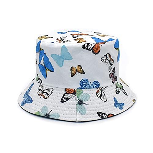 PKYGXZ Sombrero de Pescador con Estampado de Mariposa para Mujer, Sombreros de Cubo de Doble Cara, Gorra de Visera de Deporte al Aire Libre de Moda, Sombrero de Playa Plano de Hip Hop
