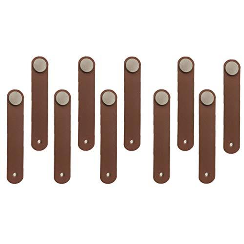 perfeclan Tiradores Puerta Manija Armario Muebles Mango de Cuero Artificial Marrón (Paquete de 10pcs con Tornillos)