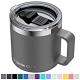 Stainless Steel Insulated Coffee Mug Tumbler with Handle, Umite Chef 14oz Double Wall Vacuum Travel Tumbler Cup with Sliding Lid Travel Friendly, Gray