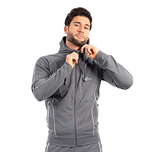 SMILODOX Zip Hoodie Nightfall   Sweater für Sport Fitness & Freizeit   Longsleeve   Langarmshirt   Trainingsshirt Pullover   Sportshirt   mit Reißverschluss, Größe:XXXL, Farbe:Anthrazit