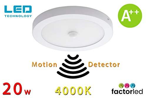 FactorLED plafondlamp met bewegingssensor, rond, 20 W, paneel met bewegingsmelder, diameter 22 cm, lamp natuurlijk licht 4000 K, energie-efficiëntieklasse A+++