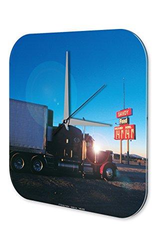 LEotiE SINCE 2004 Wanduhr mit geräuschlosem Uhrwerk Dekouhr Küchenuhr Baduhr Garage Acryl Uhr Bedruckt G. Huber Truck Stop Tankstellen Deko