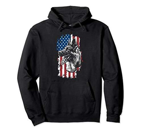 American Flag German Shepherd K-9 Police Dog Unit Hoodie