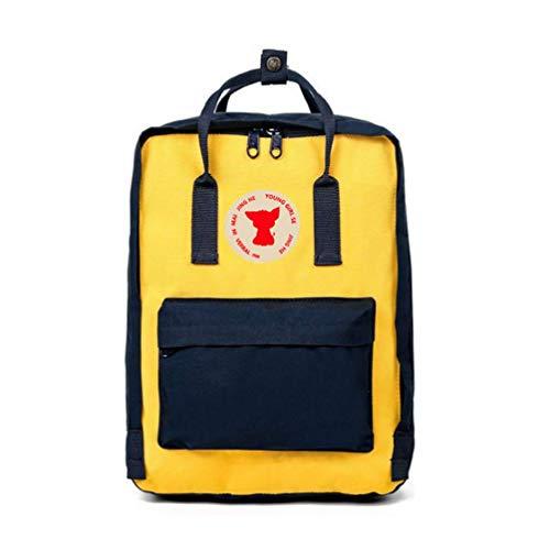 DDDWWW Mini Fox Handbag Casual Daypacks Girl Backpack Fashion College Style School Bag Lady Travel Bag Small Army Blue+Yellow