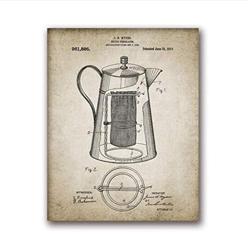 daerduotutu Coffee Making Vintage Poster Print Coffee Percolator and Coffee Bean Canvas Painting Home Decor A70 50×70CM Without Frame