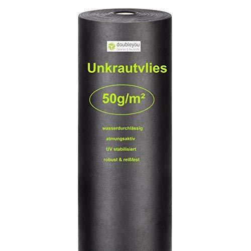 Doubleyou Gartenvlies 50g/m² ROLLE 50m x 1m = 50m² I Anti-Unkrautvlies mit sehr hoher UV-Stabilisierung extrem reißfeste Unkrautfolie - besonders wasserdurchlässig