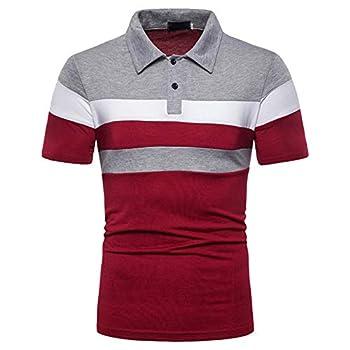 ZYooh 2021 New Men s Polos Shirt,Fashion Turn-Down Collar Sleeve Tee Dress Shirt Casual Slim Short Sleeve Summer Tops  M red