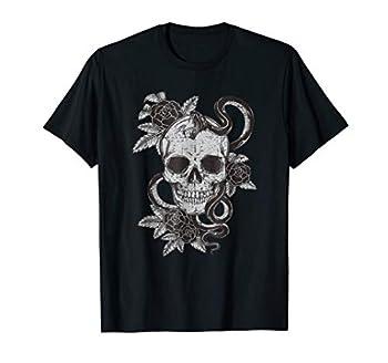 Vintage Skull Snake Rose Art Shirt Old School Tattoo Tee
