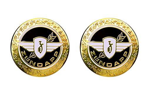 2X ZÜNDAPP Tank Emblem Motiv WEDEL 65mm Rund Schwarz Gold